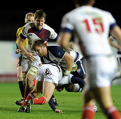 Bristol Rugby hooker, Rhys Lawrence is challenged for the ball - Photo mandatory by-line: Dougie Allward/JMP - Mobile: 07966 386802 - 05/12/2014 - SPORT - Rugby - Bristol - Ashton Gate - Bristol Rugby v London Scottish - B&I Cup