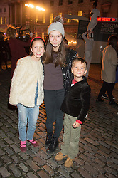 Left to right, TATIANA DU CANN, ALLEGRA HANDLESMAN and DYLAN DU CANN at the launch of Skate at Somerset House in association with Fortnum & Mason held at Somerset House, The Strand, London on 17th November 2015.