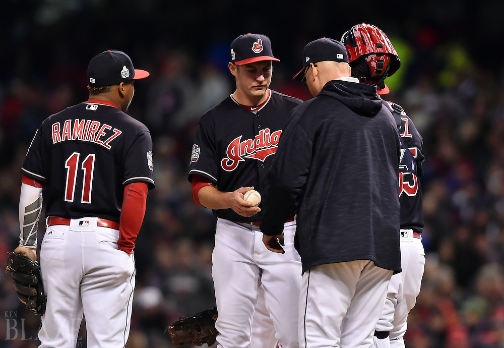 Oct 26, 2016; Cleveland, OH, USA;  Cleveland Indians starting pitcher Trevor Bauer (middle) is relieved by manager Terry Francona in the fourth inning against the Chicago Cubs in game two of the 2016 World Series at Progressive Field. Mandatory Credit: Ken Blaze-USA TODAY Sports
