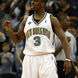 New Orleans Hornets guard Chris Paul #3 reacts after a basket against the Golden State Warriors in the first half of their NBA game on April 6, 2008 at the New Orleans Arena in New Orleans, Louisiana.