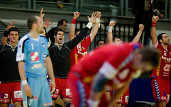 Players of Czech republic celebrate during the Men's Handball European Championship Main Round match between Slovenia and Czech republic at the Olympia Hall on January 24, 2009 in Innsbruck, Austria.  (Photo by Vid Ponikvar / Sportida) - on January 2010
