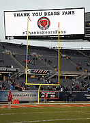 The Soldier Field stadium scoreboard thanks Bears fans after the Chicago Bears NFL week 17 regular season football game against the Detroit Lions on Sunday, Jan. 3, 2016 in Chicago. The Lions won the game 24-20. (©Paul Anthony Spinelli)