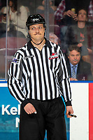 KELOWNA, BC - NOVEMBER 20: Linesman Jade Portwood stands on the ice at the Kelowna Rockets against the Victoria Royals at Prospera Place on November 20, 2019 in Kelowna, Canada. (Photo by Marissa Baecker/Shoot the Breeze)
