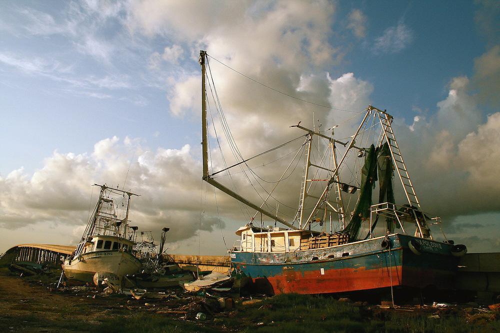 Boats Drifted Against LA-23 Bridge, Empire, LA