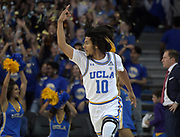 Nov 15, 2019; Los Angeles, CA, USA; UCLA Bruins guard Tyger Campbell (10) celebrates after a 3-point basket against the UNLV Rebels in the first half at Pauley Pavilion. UCLA defeated UNLV 71-54.
