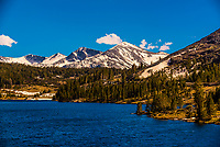 Tioga Lake on Tioga Pass, driving through the Sierra Nevada Mountains to the eastern entrance of Yosemite National Park, California USA.