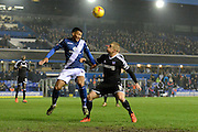 Birmingham City midfielder David Davis and Brentford defender Maxime Colin battle during the Sky Bet Championship match between Birmingham City and Brentford at St Andrews, Birmingham, England on 2 January 2016. Photo by Alan Franklin.