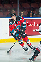 KELOWNA, BC - DECEMBER 18: Michael Farren #16 of the Kelowna Rockets passes the puck against the Vancouver Giants at Prospera Place on December 18, 2019 in Kelowna, Canada. (Photo by Marissa Baecker/Shoot the Breeze)