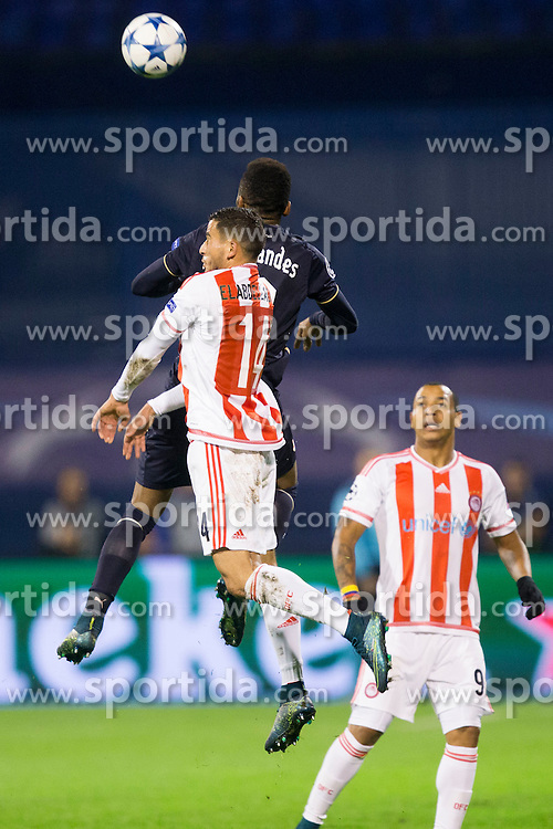 Omar Elabdellaoui #14 of Olympiakos during football match between GNK Dinamo Zagreb and Olympiakos in Group F of Group Stage of UEFA Champions League 2015/16, on October 20, 2015 in Stadium Maksimir, Zagreb, Croatia. Photo by Urban Urbanc / Sportida