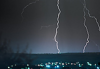 Thunder and lightning storm over Aurora, Colorado.