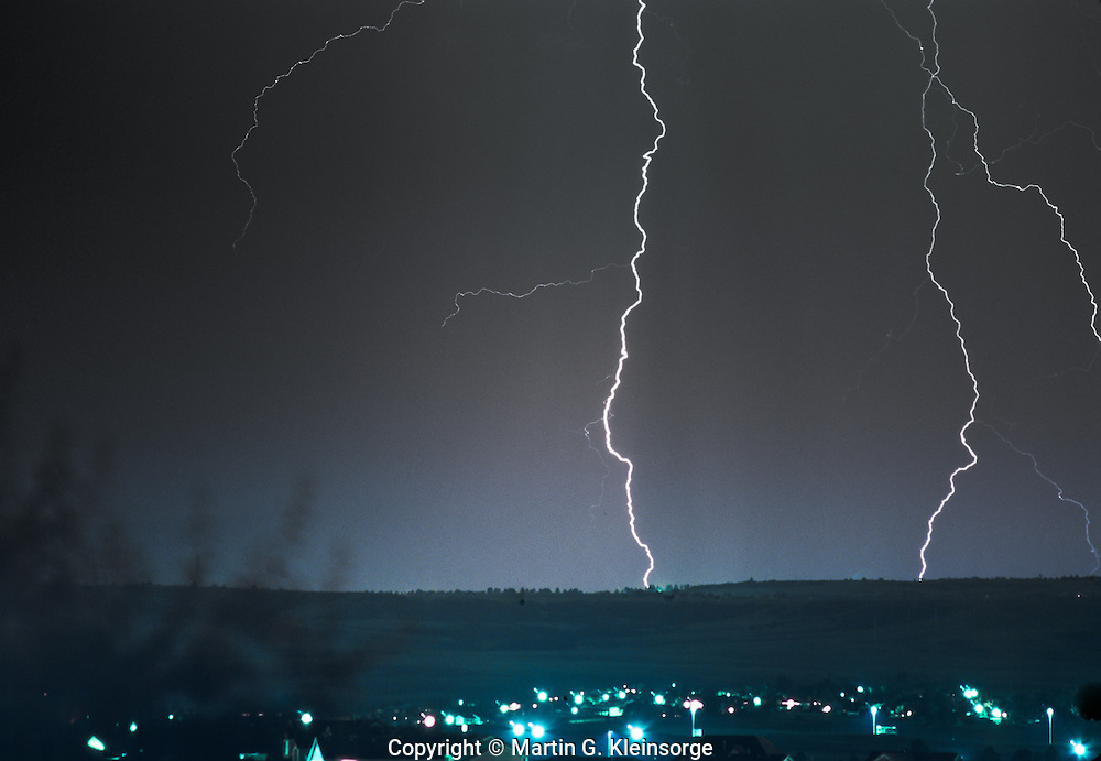 Thunder and lightning storm over Aurora, Colorado.
