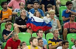 Supporters of Slovenia during friendly basketball match between National teams of Slovenia and Australia, on August 4, 2015 in Arena Stozice, Ljubljana, Slovenia. Photo by Vid Ponikvar / Sportida
