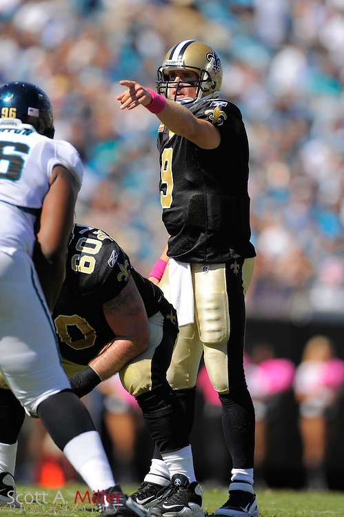 New Orleans Saints quarterback Drew Brees (9) during the Saints game against the Jacksonville Jaguars at EverBank Field on Oct. 2, 2011 in Jacksonville, Fla...©2011 Scott A. Miller