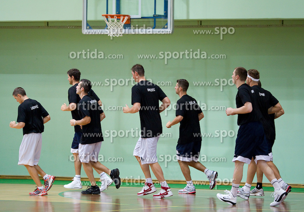 Players running at practice session of Slovenia basketball team on media day on July 16, 2010 at Rogla sports center, Slovenia. (Photo by Vid Ponikvar / Sportida)