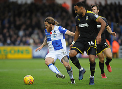 Stuart Sinclair of Bristol Rovers is challenged by Liam Trotter of AFC Wimbledon - Mandatory by-line: Neil Brookman/JMP - 18/11/2017 - FOOTBALL - Memorial Stadium - Bristol, England - Bristol Rovers v AFC Wimbledon - Sky Bet League One