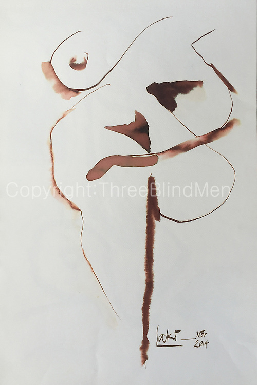 Laki Senanayake.<br /> Untitled. Nude December 2014<br /> WC on paper. 15&quot; x 22&quot;<br /> <br /> 150