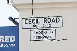 © Licensed to London News Pictures. 06/09/2015. London, UK. Road sign at the top of the road by Fernways sheltered housing unit in Fernways off Cecil Road in Ilford, Essex. Police attended the unit last night following reports of an assault. A woman aged in her mid-50's and a man in his mid-80's were pronounced dead at the scene last night, who suffered stabbing injuries. Photo credit : Vickie Flores/LNP