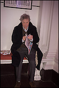 TOM STOPPARD at the Private view for A Strong Sweet Smell of Incense<br /> A Portrait of Robert Fraser, Curated by Brian Clarke. Pace Gallery. 6 Burlington Gardens. London. 5 February 2015.