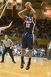Virginia forward Jamil Tucker (12) shoots a jump shot against Duke.  The Duke Blue Devils defeated the Virginia Cavaliers 87-65 in men's basketball at Cameron Indoor Stadium on the campus of Duke University in Durham, NC on January 13, 2008.