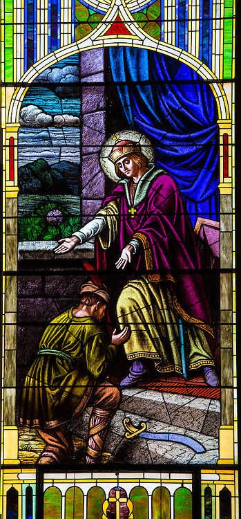 Stained glass image from St. Joseph Church in Kellnersville, Wis., depicts St. Wenceslaus, patron saint of Bohemia. (Sam Lucero photo)