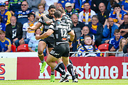 Hull FC stand off Albert Kelly (6) scores a try and celebrates to make the score 4-6 during the Challenge Cup 2017 semi final match between Hull RFC and Leeds Rhinos at the Keepmoat Stadium, Doncaster, England on 29 July 2017. Photo by Simon Davies.