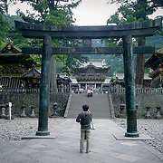 Stone tori before main complex, Nikko, Japan (May 2004)