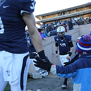 Yale players take the field for the second half during the Yale Vs Princeton, Ivy League College Football match at Yale Bowl, New Haven, Connecticut, USA. 15th November 2014. Photo Tim Clayton