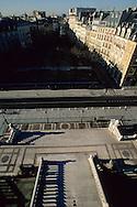 France. Paris. elevated view. la place Dauphine. vue depuis le palais de Justice
