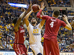 Jan 18, 2017; Morgantown, WV, USA; West Virginia Mountaineers forward Esa Ahmad (23) shoots in the lane during overtime against the Oklahoma Sooners at WVU Coliseum. Mandatory Credit: Ben Queen-USA TODAY Sports