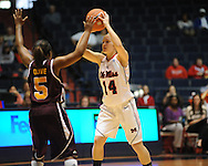 """Ole Miss' Maggie McFerrin (14) vs. Central Michigan at C.M. """"Tad"""" Smith Coliseum in Oxford, Miss. on Wednesday, December 14, 2011."""