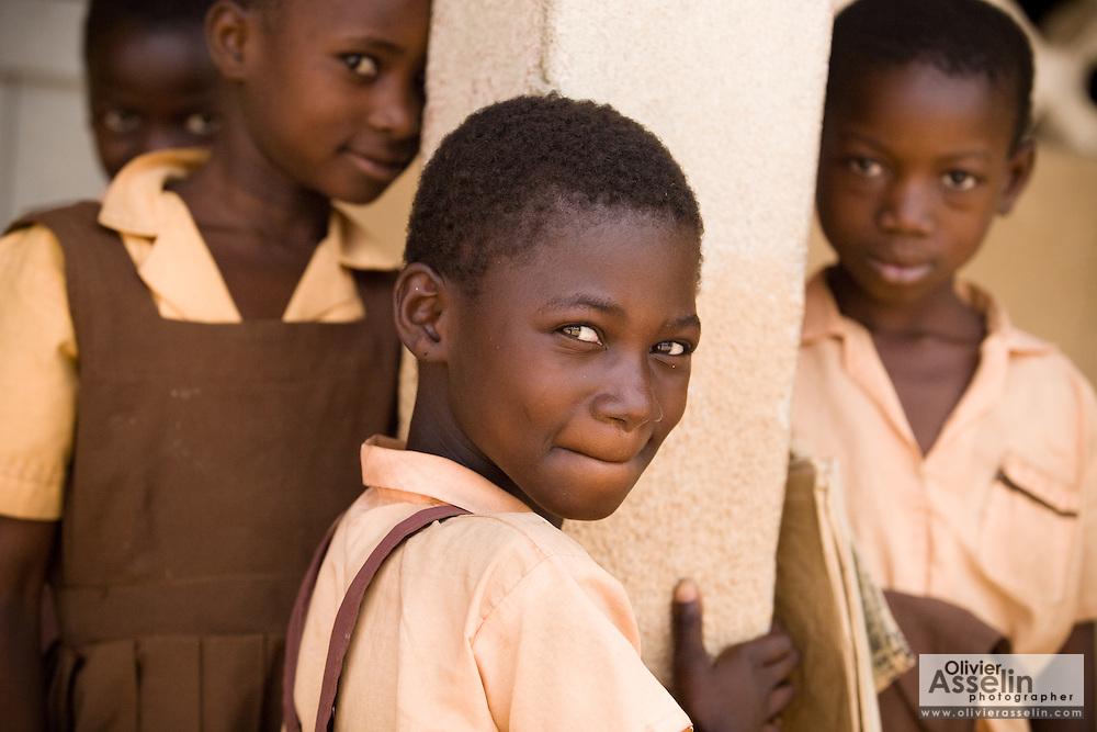 Girls in school uniforms.Northern Ghana, Wednesday November 12, 2008.