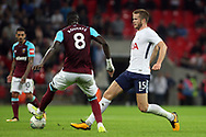 Eric Dier of Tottenham Hotspur (r) in action with Cheikhou Kouyate of West Ham United (l). EFL Carabao Cup, 4th round match, Tottenham Hotspur v West Ham United at Wembley Stadium in London on Wdnesday 25th October 2017.<br /> pic by Steffan Bowen, Andrew Orchard sports photography.