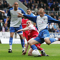 St Johnstone v Stirling Albion...11.08.07<br /> Paul Sheerin is tackled by Andrew Graham<br /> <br /> Picture by Graeme Hart.<br /> Copyright Perthshire Picture Agency<br /> Tel: 01738 623350  Mobile: 07990 594431