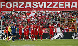LUGANO, June 9, 2018  Switzerland's players celebrate a goal during the international friendly match against Japan at the Stadium Cornaredo in Lugano, southern Switzerland June 8, 2018. Switzerland won 2-0. (Credit Image: © Ruben Sprich/Xinhua via ZUMA Wire)