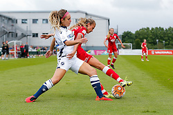Claire Emslie of Bristol City Women is challenged - Mandatory byline: Rogan Thomson/JMP - 09/07/2016 - FOOTBALL - Stoke Gifford Stadium - Bristol, England - Bristol City Women v Milwall Lionesses - FA Women's Super League 2.