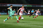 Jack Iredale and Gavin Reilly  during the EFL Sky Bet League 2 match between Cheltenham Town and Carlisle United at Jonny Rocks Stadium, Cheltenham, England on 20 August 2019.