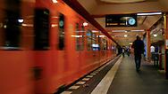 Passengers late for subway train