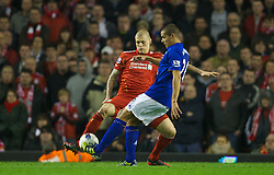 LIVERPOOL, ENGLAND - Tuesday, March 13, 2012: Liverpool's Martin Skrtel in action against Everton's Jack Rodwell during the Premiership match at Anfield. (Pic by David Rawcliffe/Propaganda)