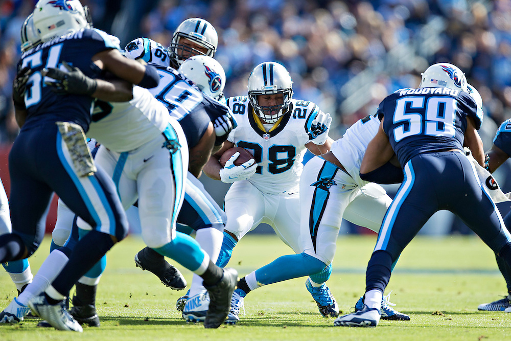 NASHVILLE, TN - NOVEMBER 15:  Jonathan Stewart #28 of the Carolina Panthers run the ball through the middle of the line during a game against the Tennessee Titans at Nissan Stadium on November 15, 2015 in Nashville, Tennessee.  (Photo by Wesley Hitt/Getty Images) *** Local Caption *** Jonathan Stewart