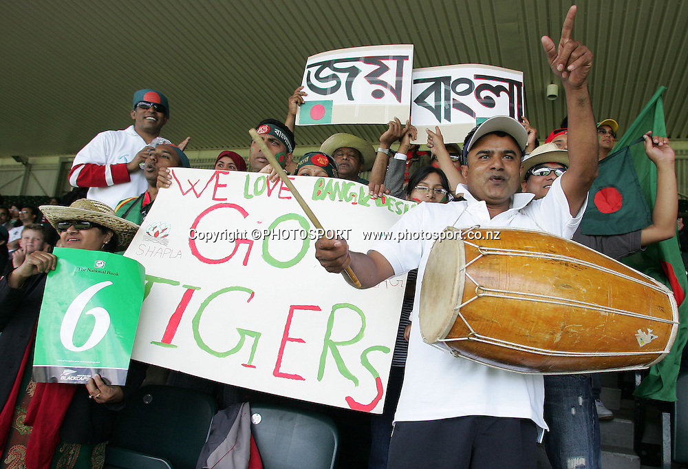 Bangladesh supporters cheer on the tigers. New Zealand Black Caps v Bangladesh, 1st One Day International, Eden Park, Auckland, New Zealand. Wednesday 26th December 2007. Photo : Chris Skelton/PHOTOSPORT