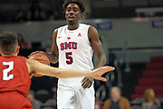 SMU Mustangs guard Emmanuel Bandoumel (5) brings the ball down while being guarded by Hartford Hawks guard D.J. Mitchell (2) during an NCAA college basketball game, Wednesday, Nov. 27, 2019, in Dallas.SMU defeated Hartford 90-58. (Wayne Gooden/Image of Sport)