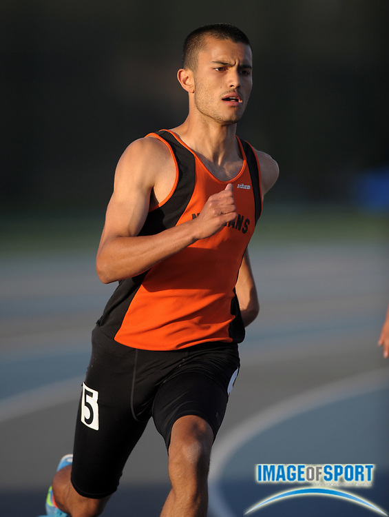May 25, 2012; Norwalk, CA, USA; Alex Rohani of Beverly Hills wins the 400m in 47.87 in the 2012 CIF Southern Section Masters Meet at Cerritos College.
