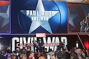 April 26, 2016 - Paul Rudd attending 'Captain America: Civil War' European Film Premiere at Vue Westfield in London, UK.