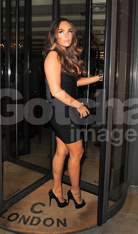 Tamara Ecclestone wearing a very fitted black bandage dress, that accentuated her bust, seen arriving a Cipriani's restaurant in London. UK. 06/10/2012 <br />BYLINE MUST READ : GOTCHAIMAGES.COM<br /><br />Copyright by © Gotcha Images Ltd. All rights reserved.<br />Usage of this image is conditional upon the acceptance <br />of Gotcha Images Ltd, terms and conditions available at<br />www.gotchaimages.com