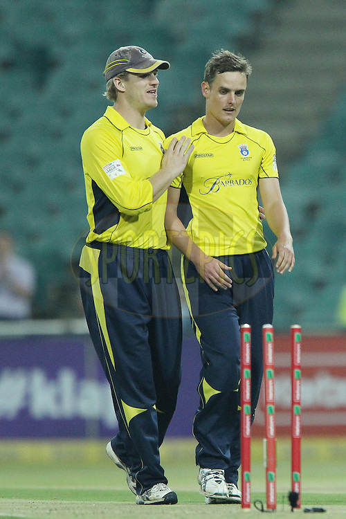 David Griffiths celebrates the wicket of Shakeel Ansar during the 6th Qualifying match of the Karbonn Smart CLT20 South Africa between Hampshire and Sailkot Stallions held at The Wanderers Stadium in Johannesburg, South Africa on the 11th October 2012..Photo by Ron Gaunt/SPORTZPICS/CLT20