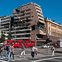 Buildings damaged by the NATO bombing of Belgrade, Serbia remain untouched since 1999.