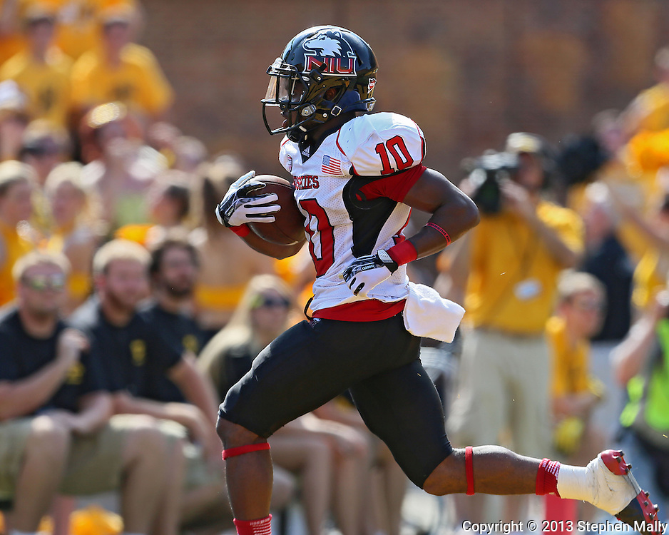August 31 2013: Northern Illinois Huskies wide receiver Tommylee Lewis (10) runs into the end zone for a 40 yard touchdown reception during the first quarter of the NCAA football game between the Northern Illinois Huskies and the Iowa Hawkeyes at Kinnick Stadium in Iowa City, Iowa on August 31, 2013. Northern Illinois defeated Iowa 30-27.