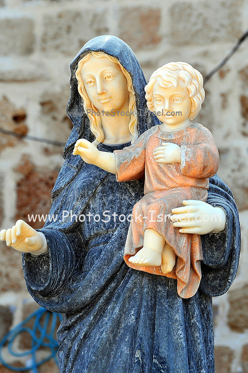 Israel, western Galilee, Acre, The old city Christian Religious Art Mary with Baby Jesus