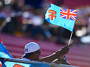 A fan with a Fijian flag in the stand during the USA Sevens Rugby Series at Sam Boyd Stadium, Las Vegas, USA on 2 March 2018. Picture by Ian  Muir.