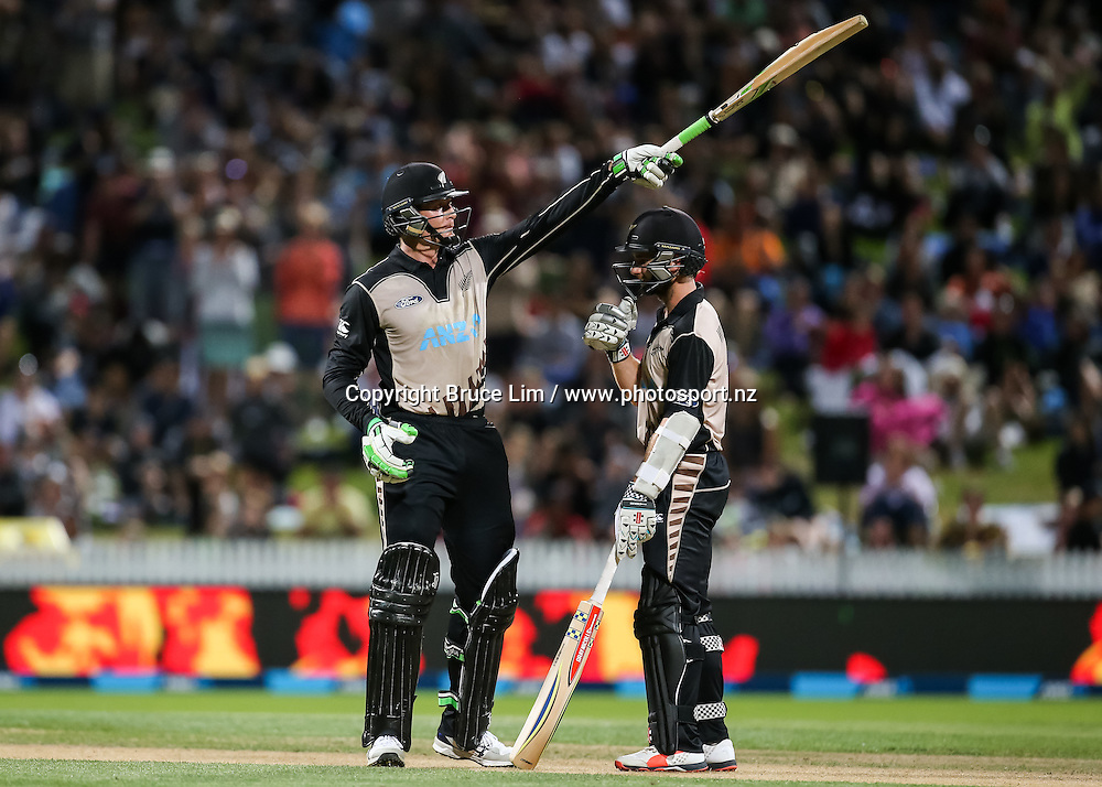 Black Cap's Martin Guptill reaches 50 during the second T20 match of the ANZ International T20 series - New Zealand Black Caps v Pakistan played at Seddon Park, Hamilton, New Zealand on Sunday 17 January 2016. Copyright Photo:  Bruce Lim / www.photosport.nz